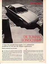 1973 DE TOMASO LONGCHAMP ~ ORIGINAL 3-PAGE ARTICLE / AD