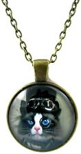 Cat Necklace for Boys Girls Blue Pendant Gift Men Women Popular Trendy Glass