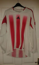 Mens Football T-Shirt Top - Adidas - White With Red Stripes - Long Sleeve - M