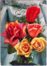 1973 Buon Onomastico fiori rose rosse e gialle