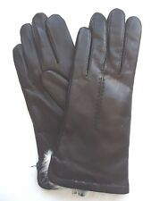 Ladies Fownes White Rabbit Fur Genuine Leather Gloves,Black,Medium