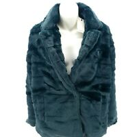 ANTHROPOLOGIE SPARKZ Faux Fur Green Coat Jacket Fuzzy SMALL and LARGE