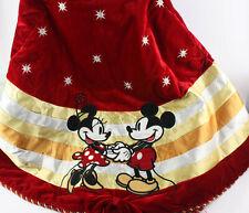 RARE Disney Mickey & Minnie Mouse Holiday Red Velvet Christmas Tree Skirt 58''