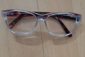 Brillengestell Damen Eyesandmore Transparent Rot Schwarz Marmoriert