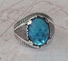 Solid 925 Sterling Silver Mens Ring Aquamarine Gemstone HandMade Ottoman Style