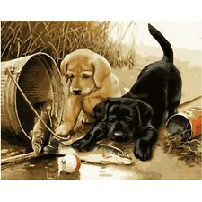 """Paint By Number Kit Lovely Dogs Draw DIY Picture Artwork 40x50cm 16x20"""" Canvas"""