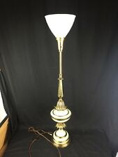 Large Vintage Stiffel Torchiere Brass Enamel Lamp Original Glass Shade Diffuser