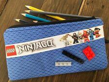 Handmade Fabric Lego Ninjago inspired Pencil Case Boy Girl Bricks Blue Red