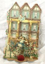 Antique Victorian  pop up die cut Valentine's day greeting card Victorian House