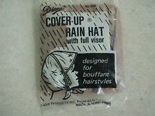 Vintage Diane Brown Cover-Up Rain Hat  Full Visor Design for Bouffant Hairstyle