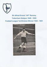 SIR ALF RAMSEY TOTTENHAM HOTSPUR 1949-1955 RARE ORIG HAND SIGNED PICTURE