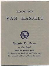 VAN HASSELT fascicule exposition 1925 galerie Druet liste oeuvres et carte expo