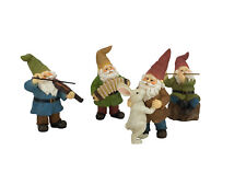 Miniature Gnomes Figurines - Happy Gnomes Dancing Celebration! - 4-Piece Set
