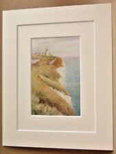 SOUTH FORELAND LIGHT VERY RARE DOUBLE MOUNTED ANTIQUE WATER COLOUR PRINT 1908