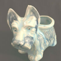 Vintage Majolica Style Scottie Ceramic Blue Dog Planter Japan