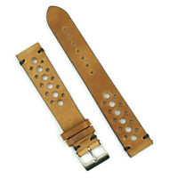 B & R Bands 18mm Oak Italian Vintage Leather Racing Watch Strap Band