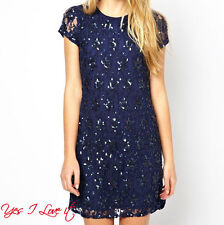 Embellished Shift Party Cocktail Occasion BRANDED Dress Dark Navy UK12 EU40