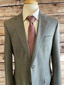 Samuelsohn Flannel Wool Sportcoat Jacket Size 39R Super 120s Gray