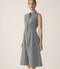 NWT Trenery Gingham Shirt Dress - 10 & 14 - 100% Cotton Button Up Blue & White