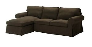 IKEA Ektorp Loveseat With Chaise Slipcover SVANBY BROWN 2 Seat Sofa+Chaise Cover