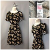 Dorothy Perkins Black Paisley Cotton Blend Summer Skater Dress UK 14 EUR 42
