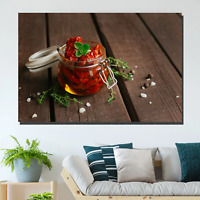 Sun-dried Tomatoes in a Jar Kitchen Dining and Cafe Decor Canvas Art Print