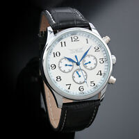 Mens Watch Mechanical Silver Leather Strap Self-winding 3 Dials Display Fashion
