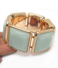 Faceted Mint Square Acrylic Link  Yellow Gold Plated Fashion Stretch Bracelet