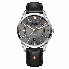 Maurice Lacroix Pontos Day Date Automatic Watch Ml 115 Grey 24k Gold Leather