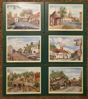 Pimpernel (6) place mats and coasters of English Villages cork backs England
