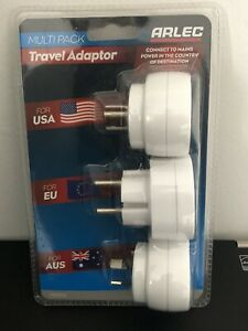 Arlec Multipack 3 X Travel Adaptors for USA, EU AUS  With Carry case Sale!!!