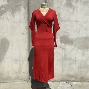 Vintage 1930s Cherry Red Crepe Silk Maxi Dress Long Mantle Sleeves Textured