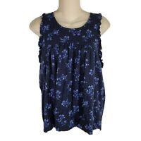Lucky Brand Tank Top Medium M Navy Blue Womens Shirt Sleeveless Blouse L27