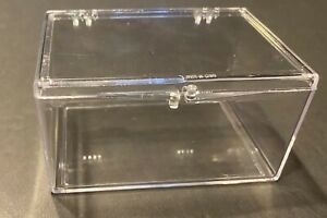 100 COUNT HINGED CLEAR PLASTIC SNAP TRADING CARD STORAGE BOX!!!