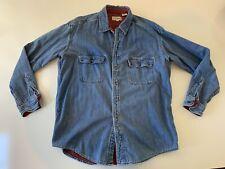VTG L.L. Bean Denim Jean Flannel Lined Shirt Jacket Men's Size L Reg 100% Cotton