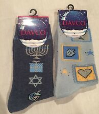 NWT 2 Pairs Womens DAVCO HANUKKAH Socks, Blue, Light Blue, Dreidels, Size 9-11