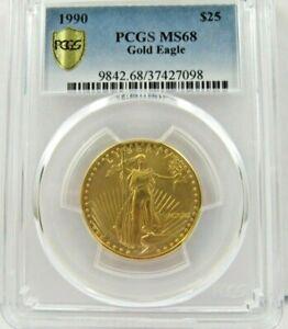 1990p $25.00 Gold Eagle Coin  Rare Grade  PCGS MS68  SAVE 900.00  #c367