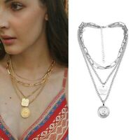 Gold Plated Chain Choker Clavicle Pendant Women Multilayer Necklace Jewelry