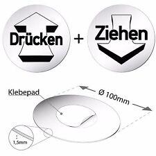 """Alu Schild 10 cm Ø """"Set Drücken & Ziehen"""" Türschild • Alu • Tür • Privat"""