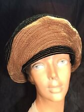 vintage Black tan Hat velvet Beret cap 40s soft fabric Shaped quilted 2 tone