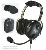 SkyLite SL-900 Aviation Pilot GA Dual Plug PNR Headset with Gel Seal FREE BAG