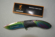 Sharp Stainless Steel Folding Browning Pocket Knife Dagger Colourful Colour