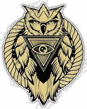 "Eye Providence Owl Illuminati Freemasonry Car Bumper Vinyl Sticker Decal 4""X5"""