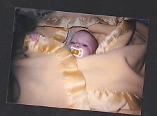 Vintage Photograph Precious Little Baby Wrapped in Blanket With Binky in Mouth