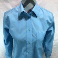 Foxcroft Wrinkle Free Women's Sky Blue Button Down Shirt Size 2P Petite CCC15