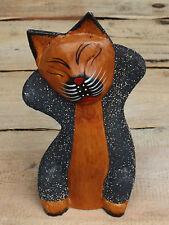 KATZE SKULPTUR SAND  beschichtet Holzkatze Katzen Figur Dekokatze Holzkätzchen
