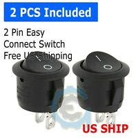 2 Pack Circular White SPST Rocker Switch