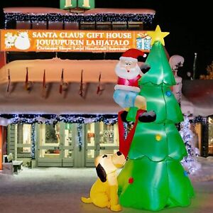 Cute 7 FT Inflatable Lighted Christmas Tree w/ Santa Claus And Dog Outdoor Decor