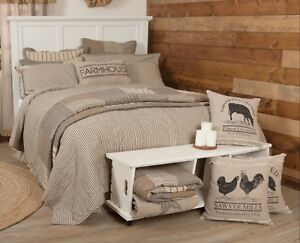 Reversible Twin Quilt Coverlet Farmhouse Cream Gray Ticking Stripe Sawyer Mill