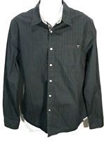 Guess Brand Men's Snap Front Black Long Sleeve Casual Shirt Size: Large